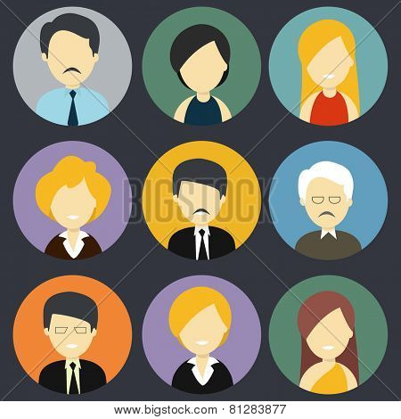 Character icons of  business men and women in formal dress.