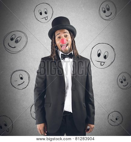 Clown grimacing