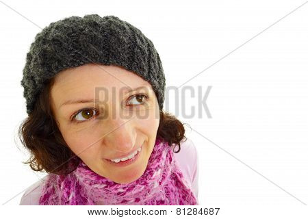 Young Woman With Wool  Cap