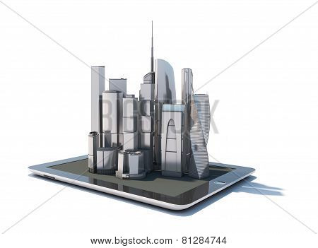 Tablet With 3D City Streetmap Of Office Blocks