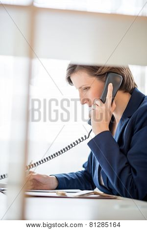 Young Businesswoman Speaking On A Telephone