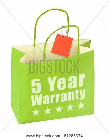 Paper Bag With Five Year Warranty Inscription
