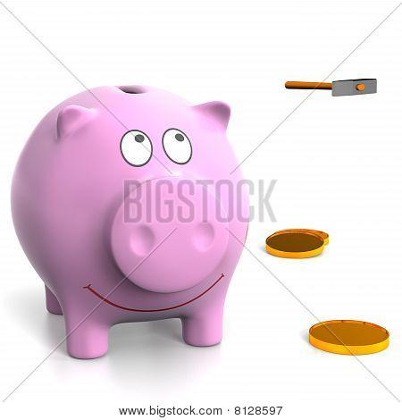 Piggy Bank And Hammer.