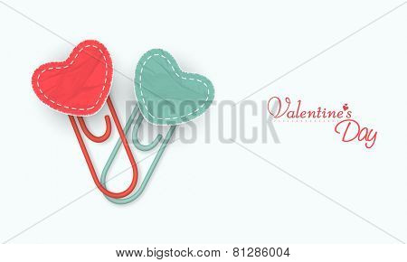 Hearts paperclip for Happy Valentines Day celebration on white background.