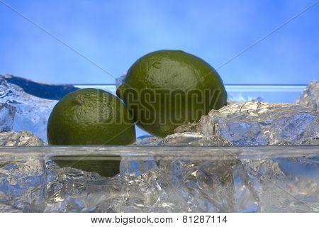 Fresh limes on ice