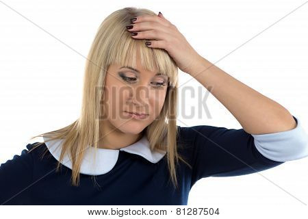 Photo of thinking business woman with hand on head