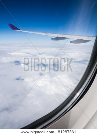 Aerial Cloudscape From Airplane Window