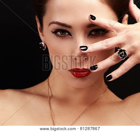 Fashion Woman With Jewelry Accessory Looking Sexy With Bright Makeup