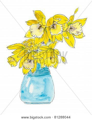 Daffodil Flowers In A Blue Vase.