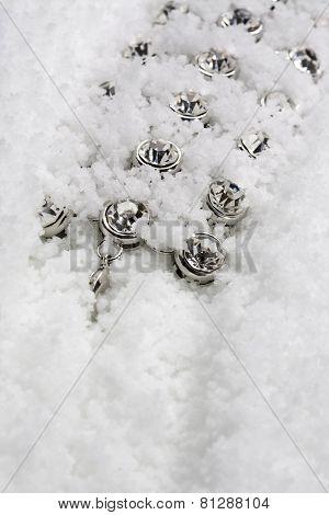 Frozen costume jewellery in studio