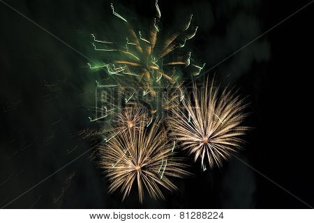 Beautiful fireworks on a night sky