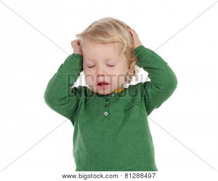 Adorable blond baby worried isolated on a white background