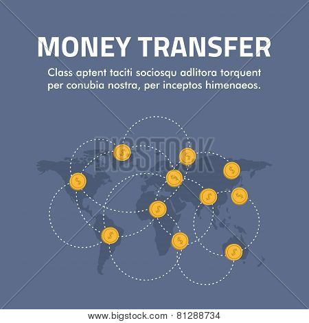 Flat Design Concept For Money Transfer. Vector Illustration For Web Banners And Promotional Material