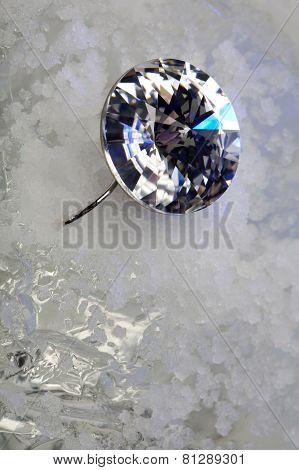 Costume earring on ice
