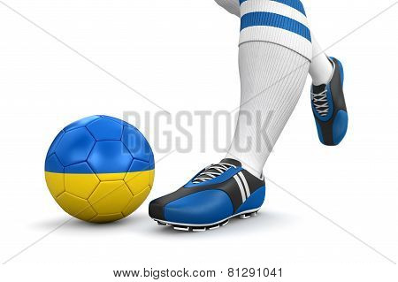 Man and soccer ball  with Ukrainian flag (clipping path included)