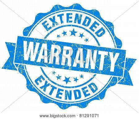 Extended Warranty Blue Grunge Seal Isolated On White