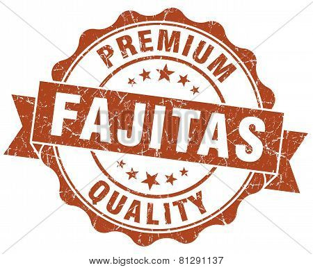 Fajitas Brown Grunge Seal Isolated On White