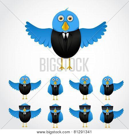 Blue cartoon business bird