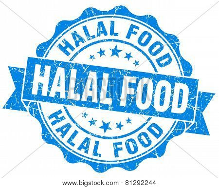 Halal Food Blue Grunge Seal Isolated On White