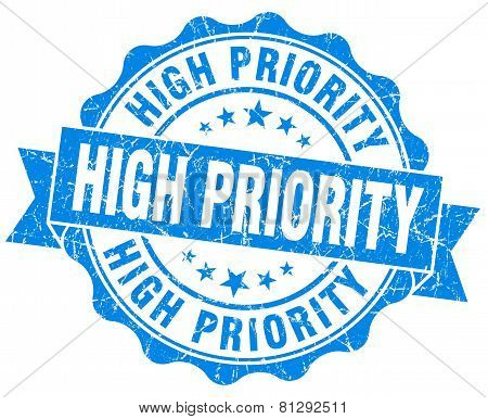 High Priority Blue Grunge Seal Isolated On White