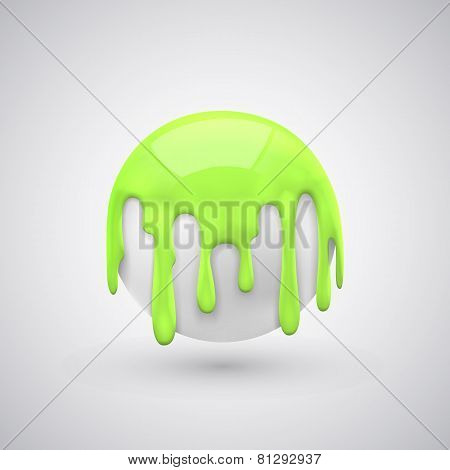 ball with paint drops green.