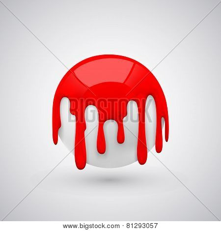 ball with paint drops. Red