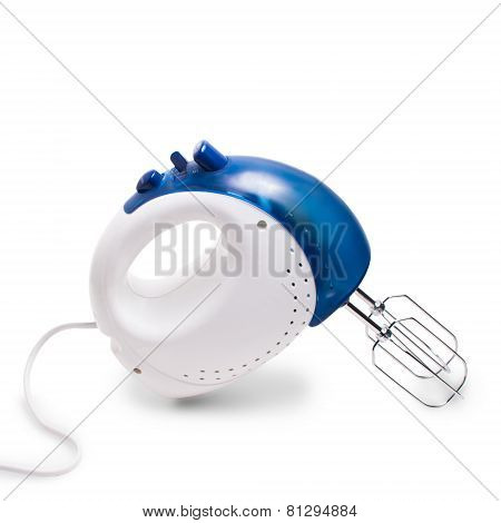 mixer electric blue isolated on white background with clipping p