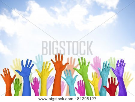 Colorful Arms Raised Volunteer Copy Space Happiness Concept