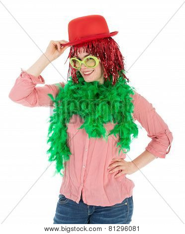 Woman In Carnival Costume With Wig And Bowler