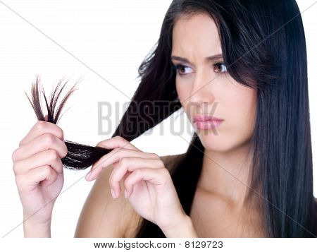 Woman In Sad Because Of Tangled Hair