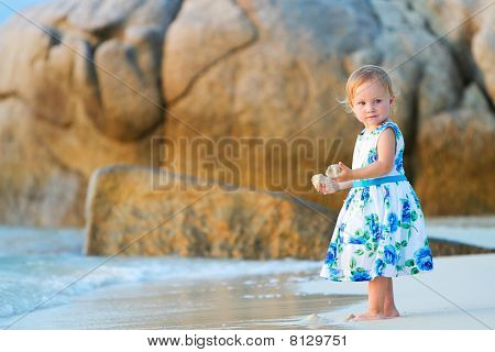Toddler Girl On The Beach