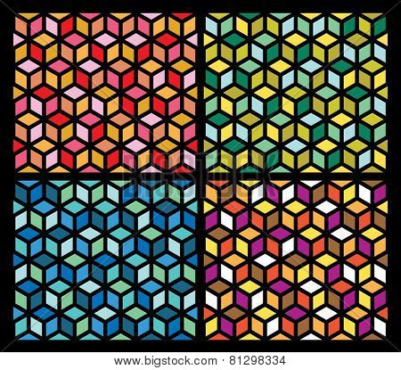 vector abstract geometric seamless repeating wallpaper in four color variations