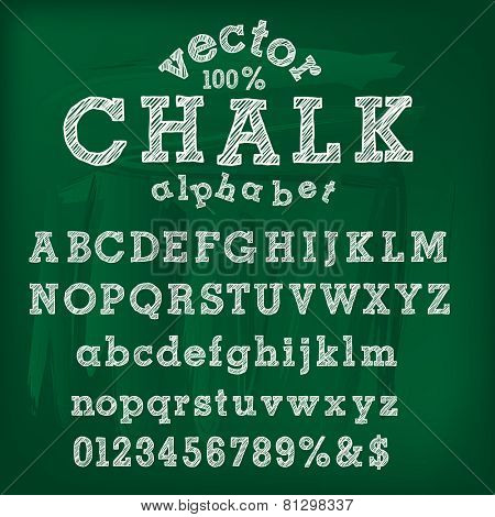 vector hand drawn chalk alphabet