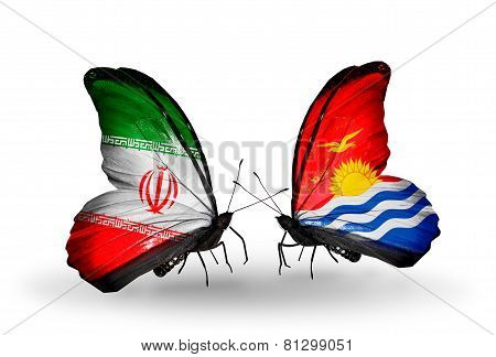 Two Butterflies With Flags On Wings As Symbol Of Relations Iran And Kiribati