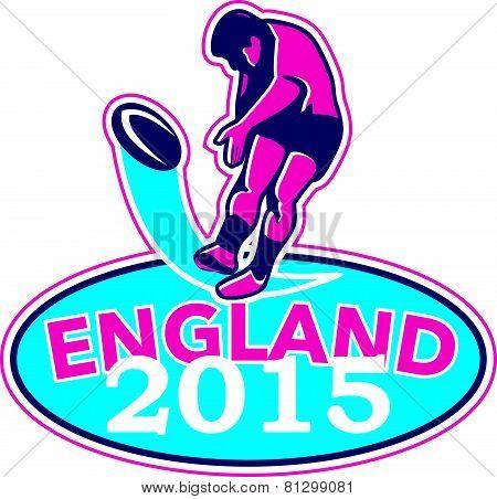 Rugby Player Kicking Ball England 2015 Retro