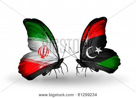 Two Butterflies With Flags On Wings As Symbol Of Relations Iran And Libya
