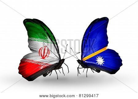 Two Butterflies With Flags On Wings As Symbol Of Relations Iran And Nauru