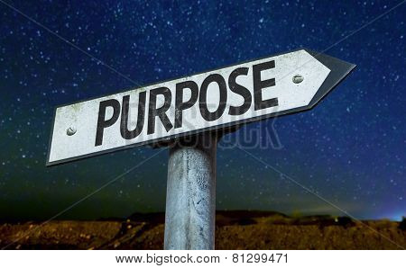 Purpose sign with a beautiful night background