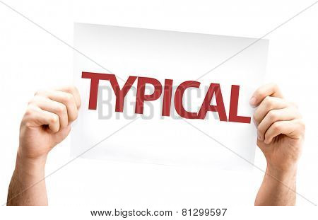 Typical card isolated on white background
