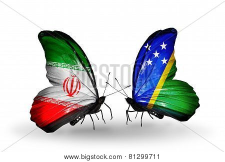 Two Butterflies With Flags On Wings As Symbol Of Relations Iran And Solomon Islands