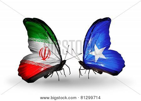 Two Butterflies With Flags On Wings As Symbol Of Relations Iran And Somalia