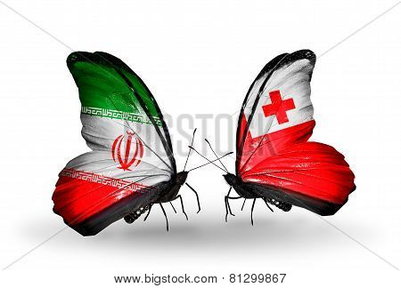 Two Butterflies With Flags On Wings As Symbol Of Relations Iran And Tonga