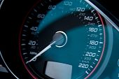 stock photo of speedo  - speed dial on fast expensive modern car