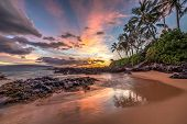 stock photo of pacific islands  - Colourful sunset from secret cove - JPG