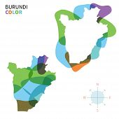 foto of burundi  - Abstract vector color map of Burundi with transparent paint effect - JPG