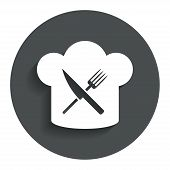 stock photo of chef knife  - Chef hat sign icon - JPG