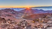 pic of pacific islands  - Sunrise at 10000 feet from the summit of Haleakala volcano on the tropical island of Maui - JPG