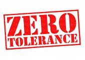 stock photo of zero  - ZERO TOLERANCE red Rubber Stamp over a white background - JPG