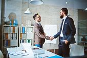 picture of negotiating  - Successful businessmen handshaking after negotiation - JPG