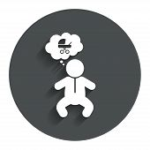 image of buggy  - Baby infant think about buggy sign icon - JPG
